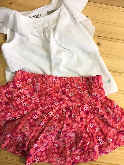 Size 12m TOUGHSKINS White Flowy Top with Pink Floral Short