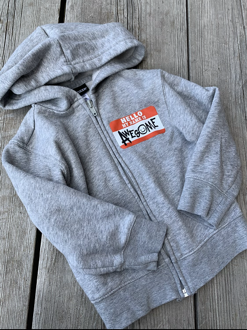Size 2T Grey My Name is Awesome Hoodie