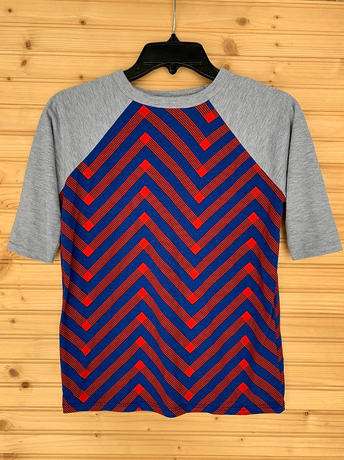 Size 10 Youth LULAROE Red and Blue Chevron Shirt, Used
