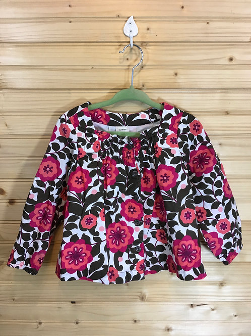 Size 18-24m OLD NAVY Brown and Pink Floral Peasant Blouse