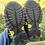 Size 11 Kids FILA Black and Yellow Sandals bottom
