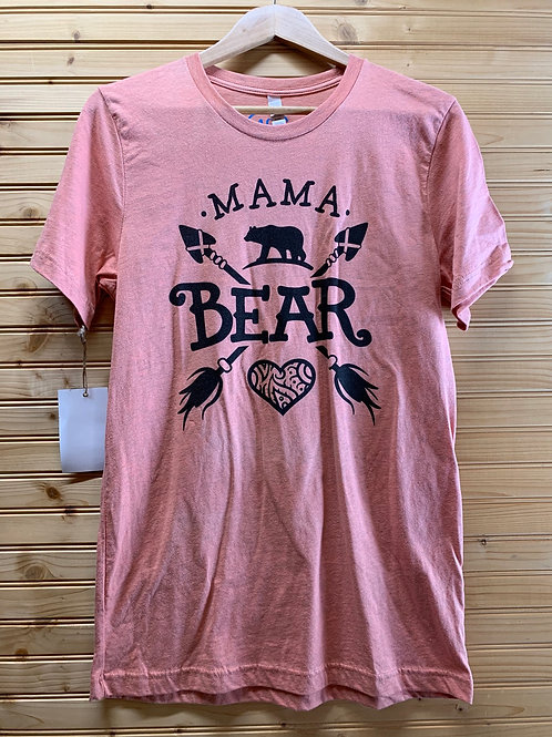 Size Medium Women's Coral Mama Bear Shirt