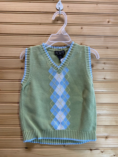Size 3T CHILDREN'S PLACE Green Sweater Vest, Used