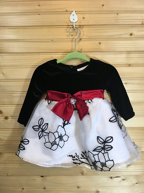 Size 3-6m YOUNGLAND Black, White and Red Dress