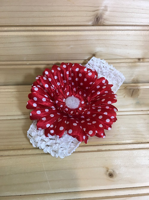 Flower Headband - Red and White