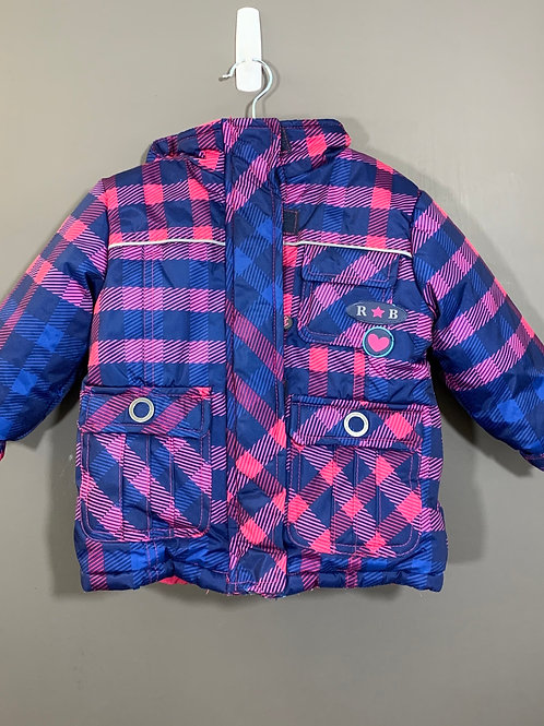 Size 12m RUGGED BEAR Pink and Navy Plaid Winter Jacket, Used