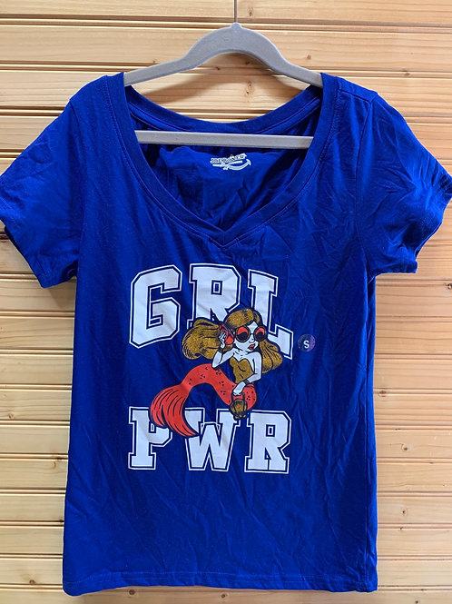 Size S Juniors Girl Power Blue Shirt, New with Tags
