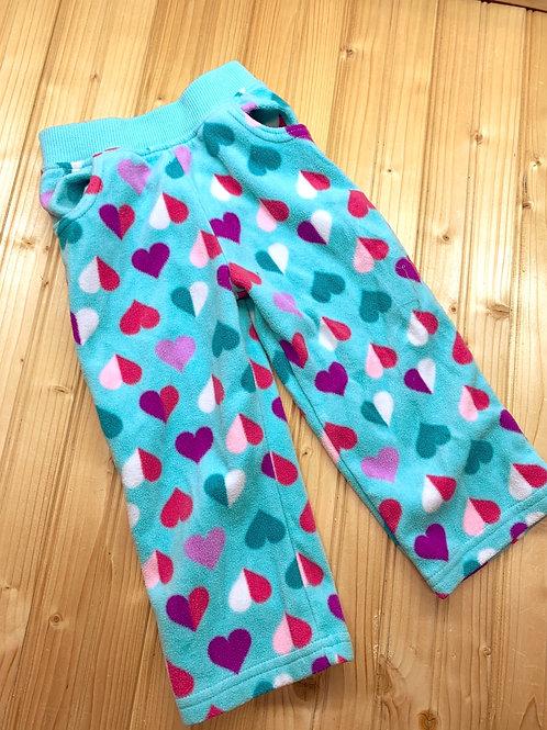Size 2T Mint Fleece Heart Pants