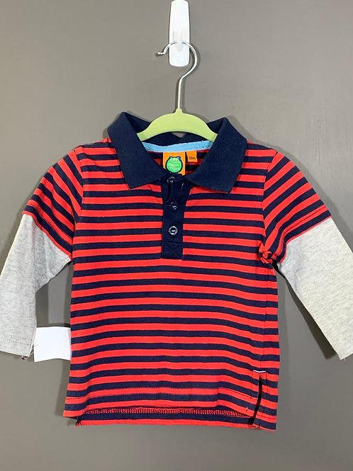 Size 12m GAGOU TAGOU Red Striped Polo, Used