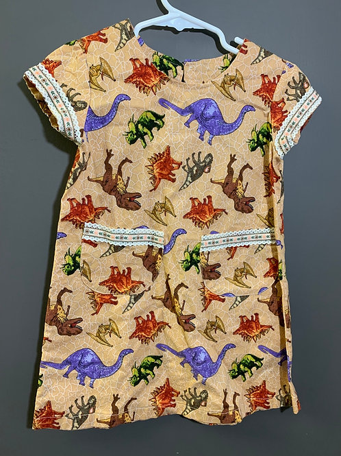 Size 4T(roughly) Handmade Dinosaur Dress and Handbag