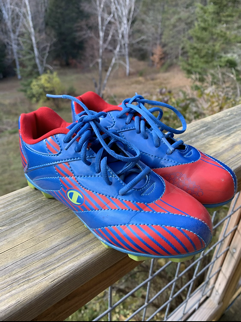 Size 2Y CHAMPION Blue and Red Soccer Cleats