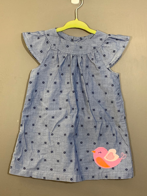 Size 12m JUST ONE YOU Blue Chambray Dress with Bird, Used