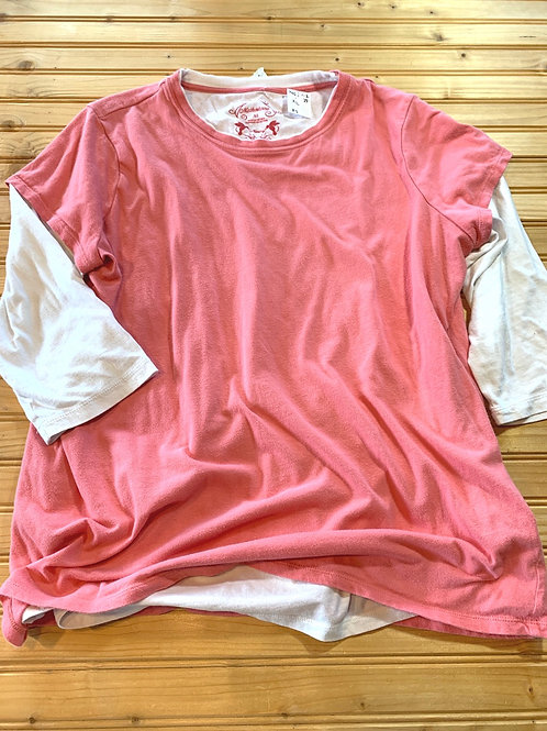 Size XL Maternity Pink and White Top