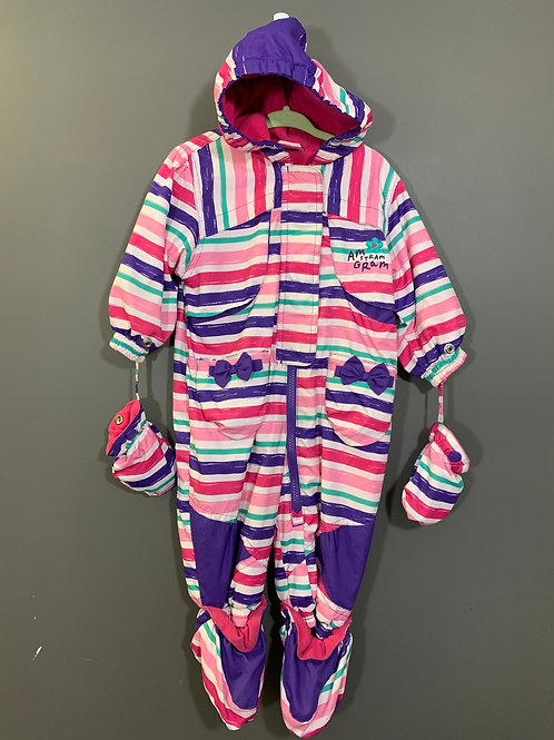 Size 9m GAGOU TAGOU Striped Winter Bunting Snowsuit, Used