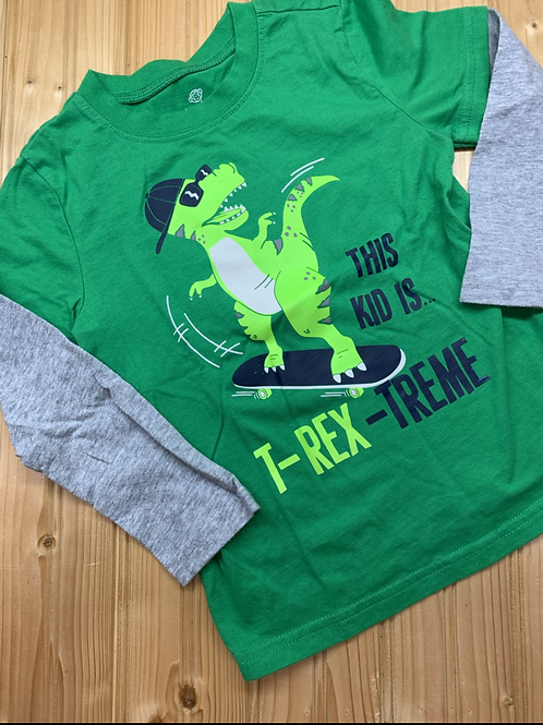 Size 4T Green Skater T-Rex Shirt