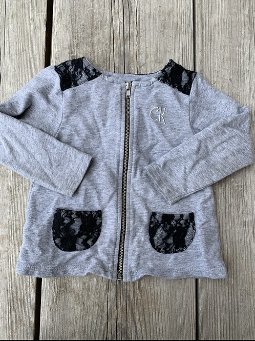 Size 18m CALVIN KLEIN Grey and Black Lace Sweater