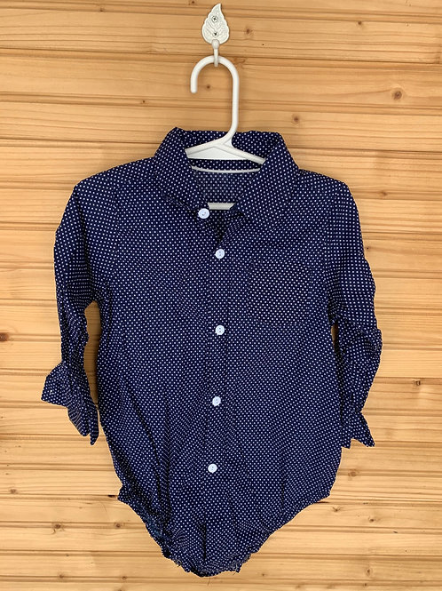 Size 90 (18m) Navy Blue and White Dot Long Sleeve Onesie, Used