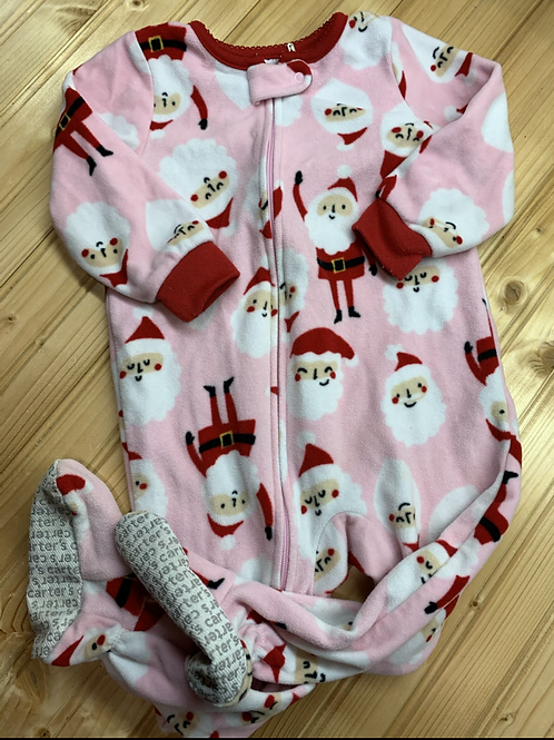 Size 18m CARTER'S Pink Santa Fleece Footie PJ