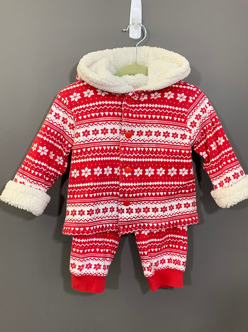 Size 6-12m GYMBOREE 2pc Nordic Flannel Suit in Red and White