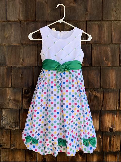 Size 6/7 Polkadot Party Dress, Used