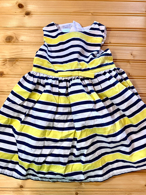 Size 6m Yellow and Navy Stripe Dress with Bloomers