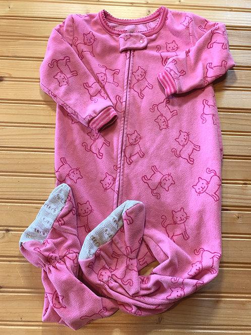 Size 18m CARTER'S Pink Kitty Fleece Footie PJ, Used