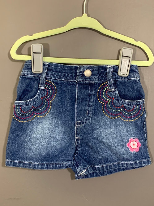 Size 12 Okiedokie Embroidered Jean Shorts, Used
