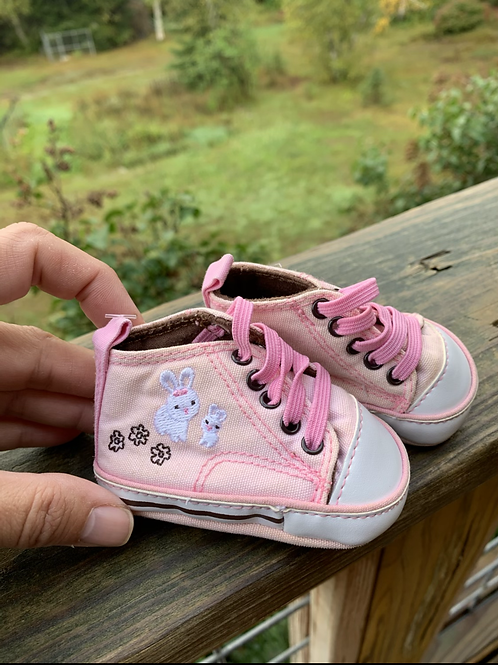 Size NB Soft Pink Bunny Shoes