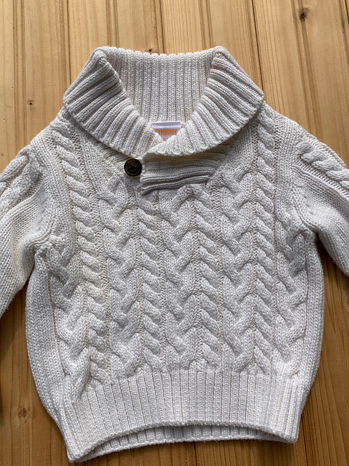 Size 3-6m GYMBOREE White Cable Knit Sweater, Used