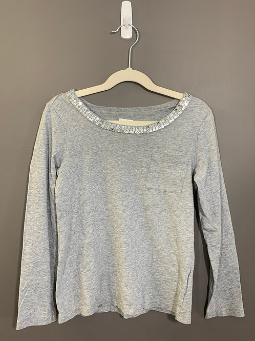 Size 7/8 CHILDREN'S PLACE Grey Sequin Shirt, Used