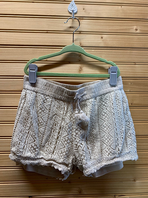 Size 7/8 WONDER NATION 2 Lace Shorts, Cream and Navy, Used