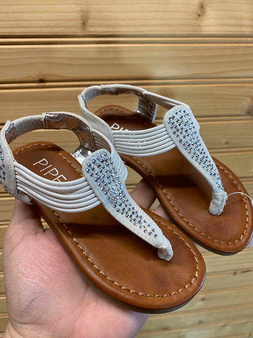 Size 7 Toddler White and Silver Sandals
