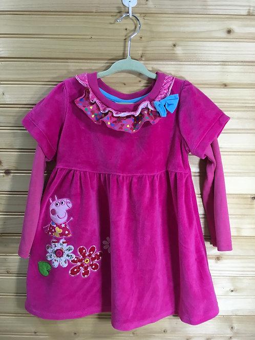 4/5 Girls - NOVATX - Pink Velvet Peppa Pig Dress