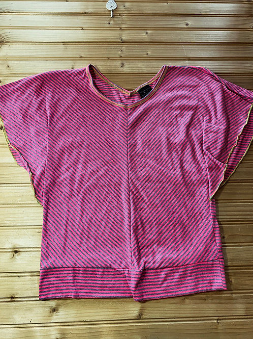 Size 7/8 FADED GLORY Pink Striped Wing Shirt, Used