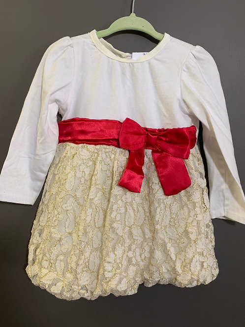 Size 18m VITAMINS KIDS White and Gold Dress with Red Bow