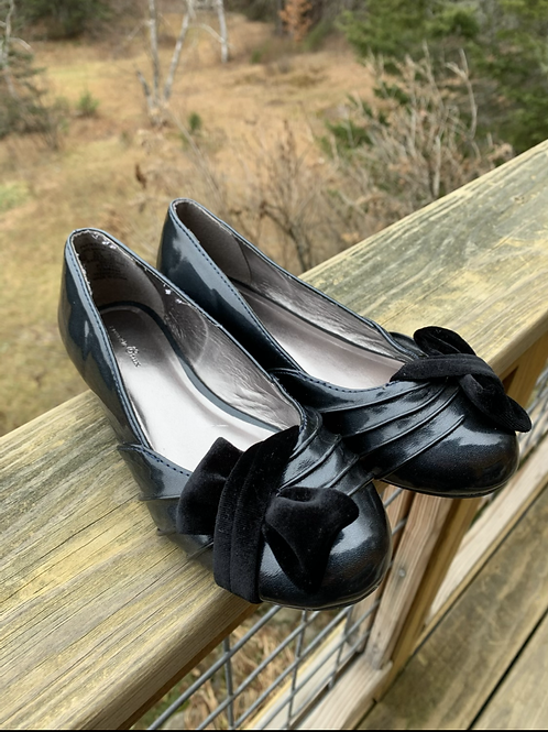 Size 2 Youth SPARKLE TUX Black Flats