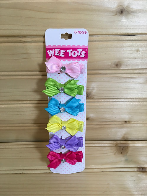 One Size WEE TOTS New 6-Pack Ribbon Hair Clips