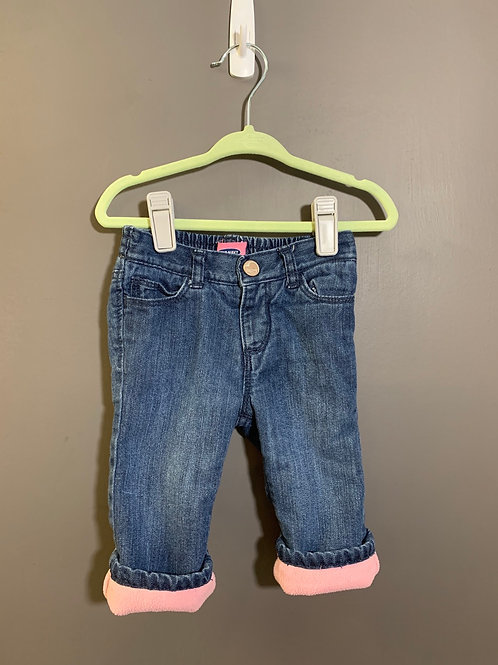 Size 6-12m OLD NAVY Lined Jeans with Pink Fleece