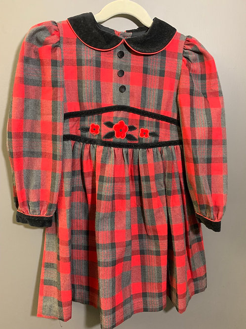 Size 5 Girls Red and Black Plaid Dress