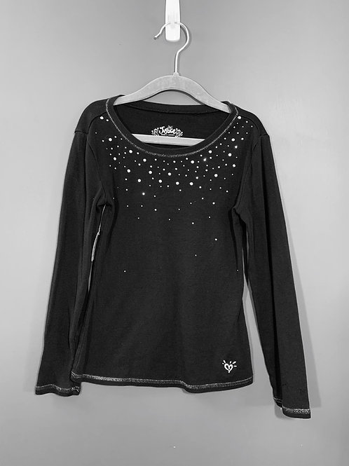 Size 7 Youth JUSTICE Black Long Sleeve Shirt with Gems, Used