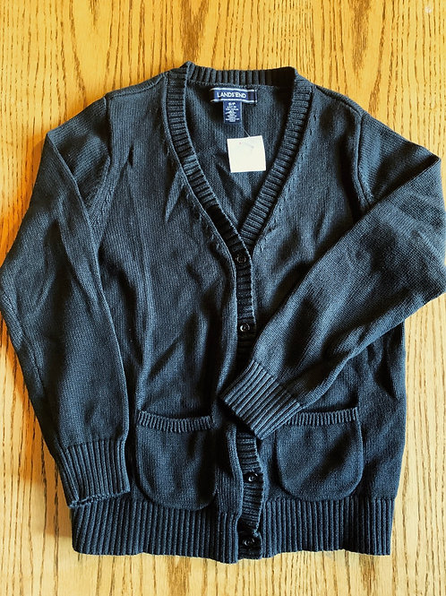 Size 7/8 LANDS' END Black Cardigan, Used