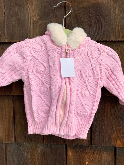 Size 0-3m ARIZONA Pink Cable Knit Hoodie