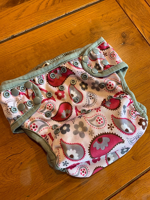 One Size Diaper Cover Pink and Grey Paisley