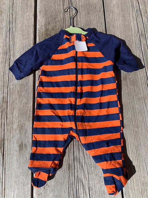 Size NB GERBER Striped Orange and Blue PJ, Used