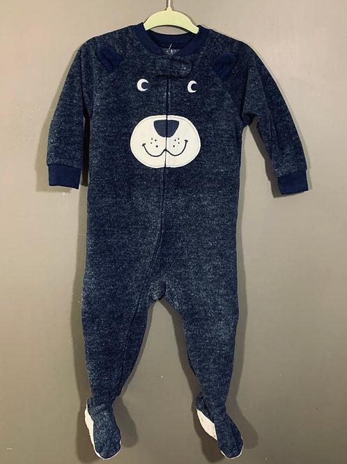 12m CARTER'S Blue Bear Fleece Footie PJ, Used