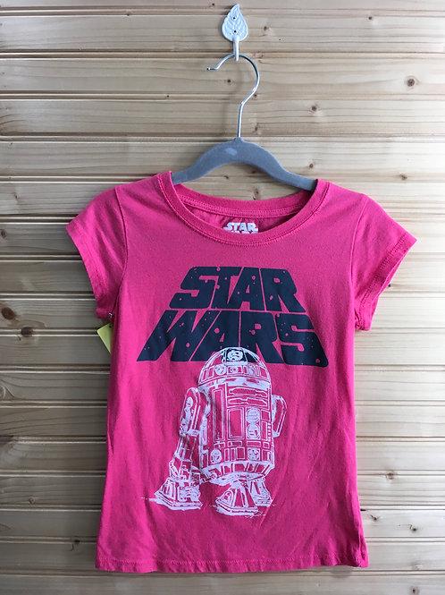 Size 7/8 Girls Pink Star Wars Shirt with Glitter R2D2