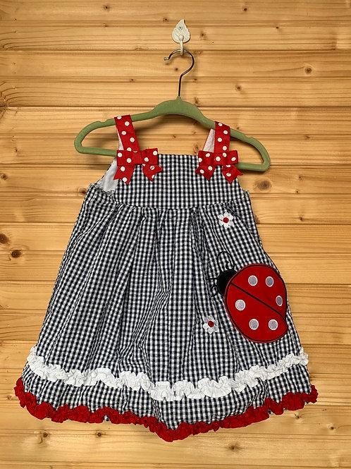 Size 12m EMILY ROSE Black and White Ladybug Dress, Used
