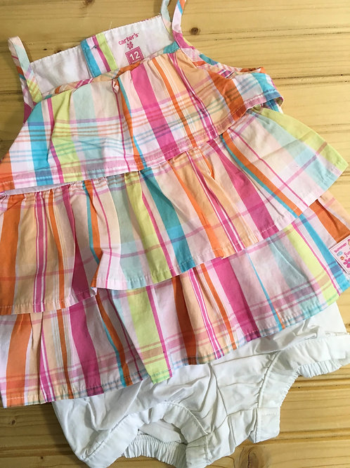Size 12m CARTER'S Plaid Ruffle Top with White Shorts