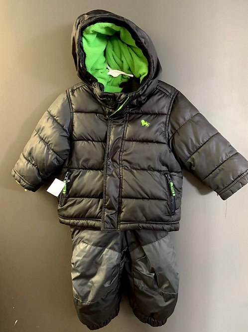 Size 12-18m OLD NAVY Brown Green 2pc Snow Suit, Used