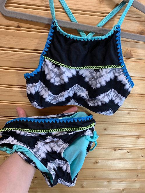 Size 8 JUSTICE Black Tye Dye 2pc Swimsuit, Used